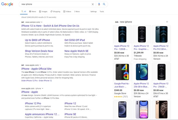 New iPhone Google Search Example